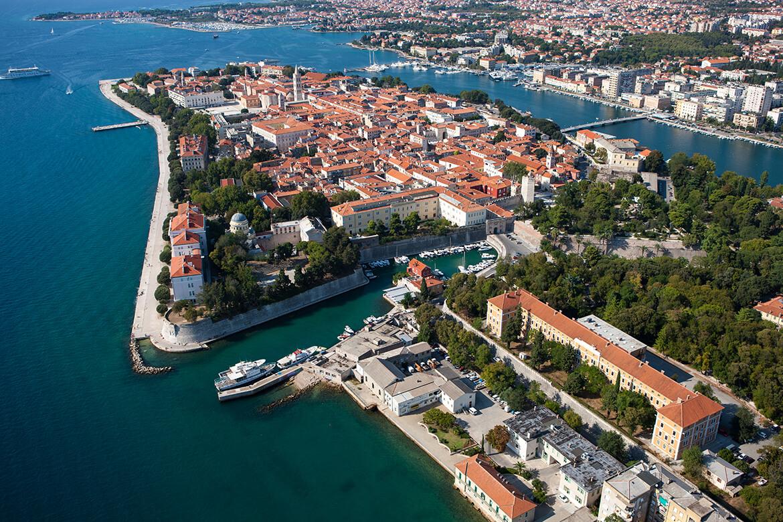 Letecký pohled na Zadar