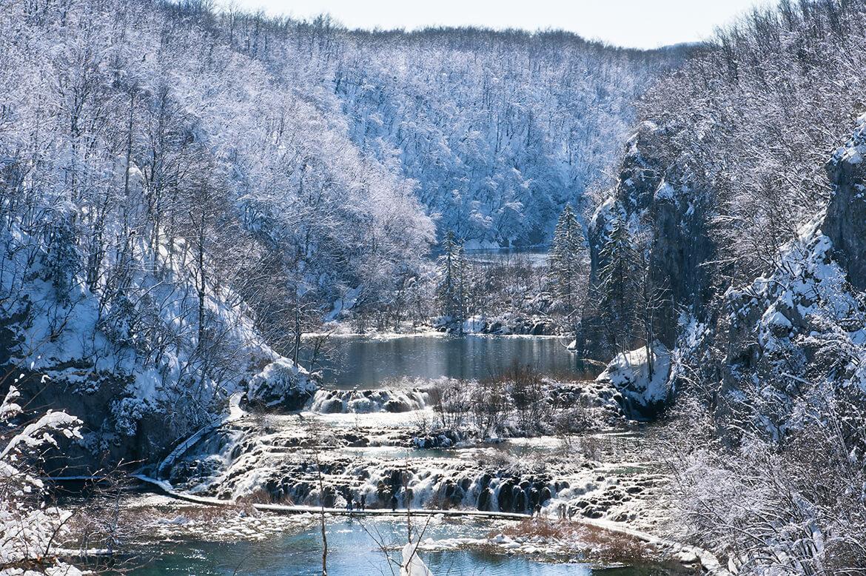 Národní park Plitvická jezera v zimě